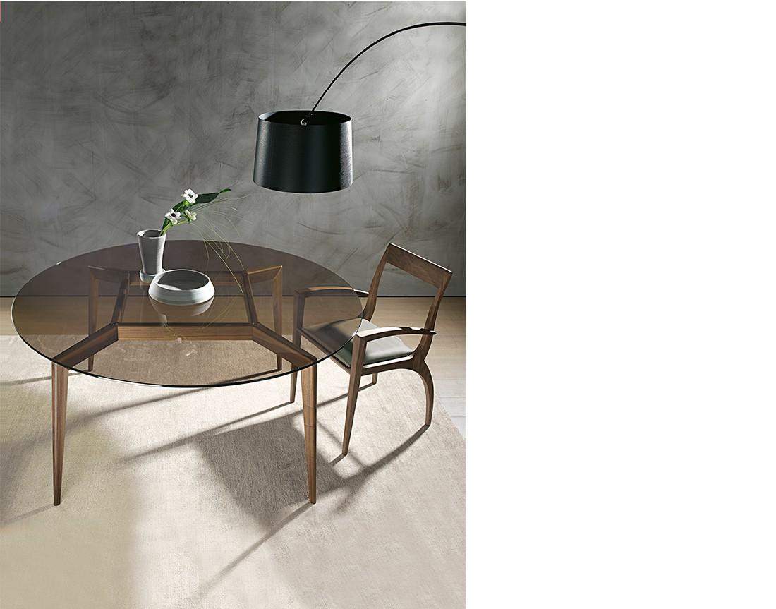 Hope: tavolo da pranzo rotondo piano vetro, Made in Italy | Hope: round glass top dining table, Made in Italy