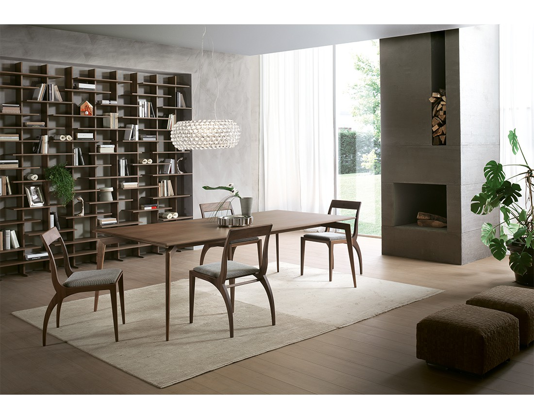 Hope: tavolo da pranzo rettangolare piano legno, Made in Italy | Hope: rectangular wooden top dining table, Made in Italy