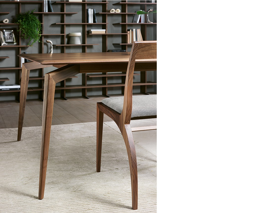 Hope: tavolo da pranzo rettangolare piano legno in ambiente moderno, dettaglio struttura| Hope: rectangular dining table with wooden top in a modern living, structure detail