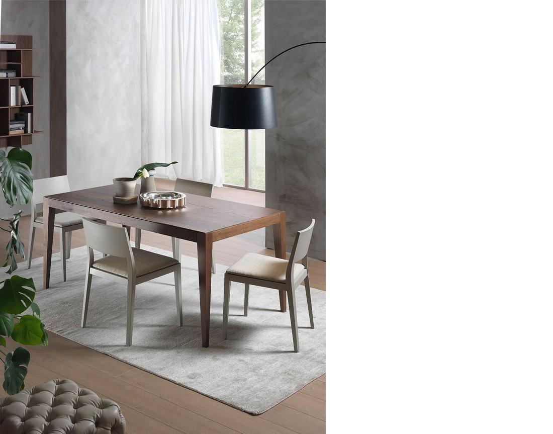 Dominique: tavolo da pranzo fisso piano legno, Cimento o Laminam   Dominique: fixed dining table with wooden top, Cimento or Laminam