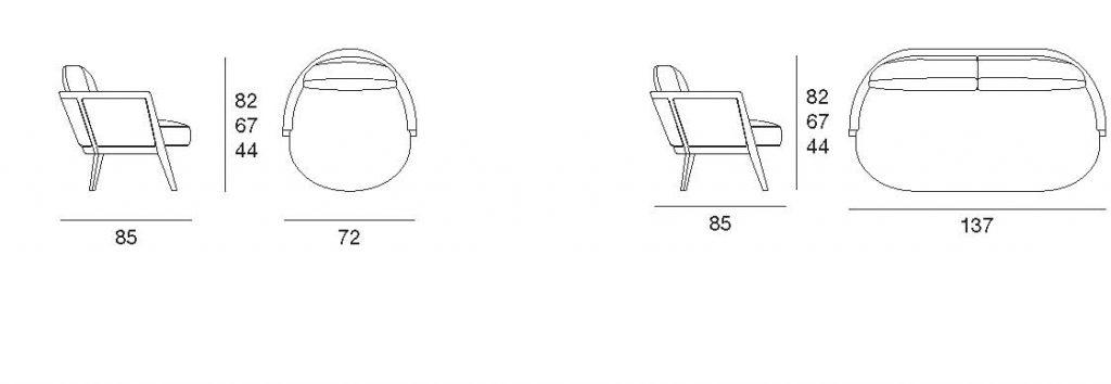 Cocoon disegno tecnico poltrona e divanetto | Cocoon armchair and sofa technical drawing