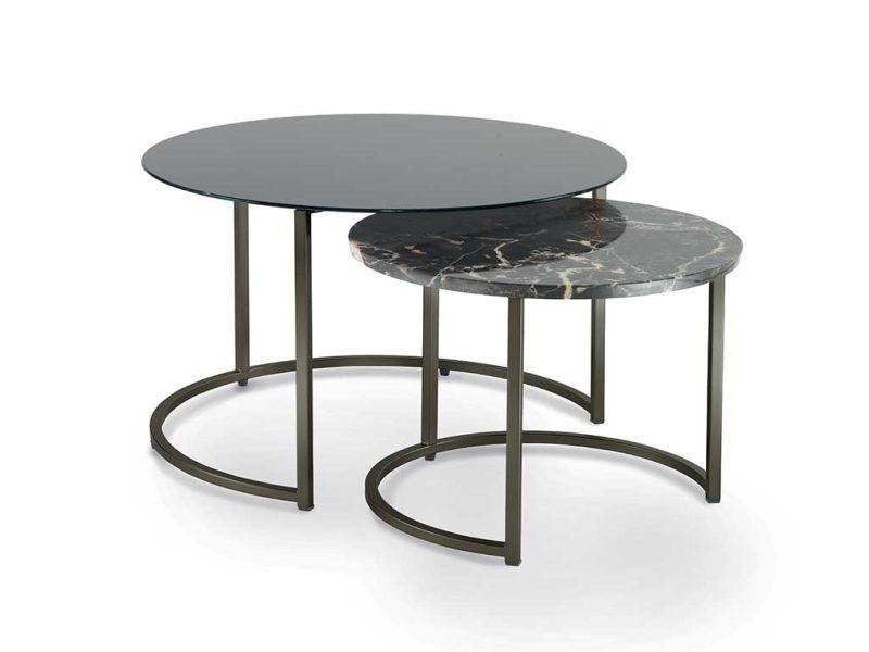 Cin-Cin-coppia-di-tavolini-con-struttura-in-metallo-piano-in-vetro-verniciato-e-marmo | Cin-Cin-pair-of-small-tables-with-metal-structure-top-in-painted-glass-and-marble