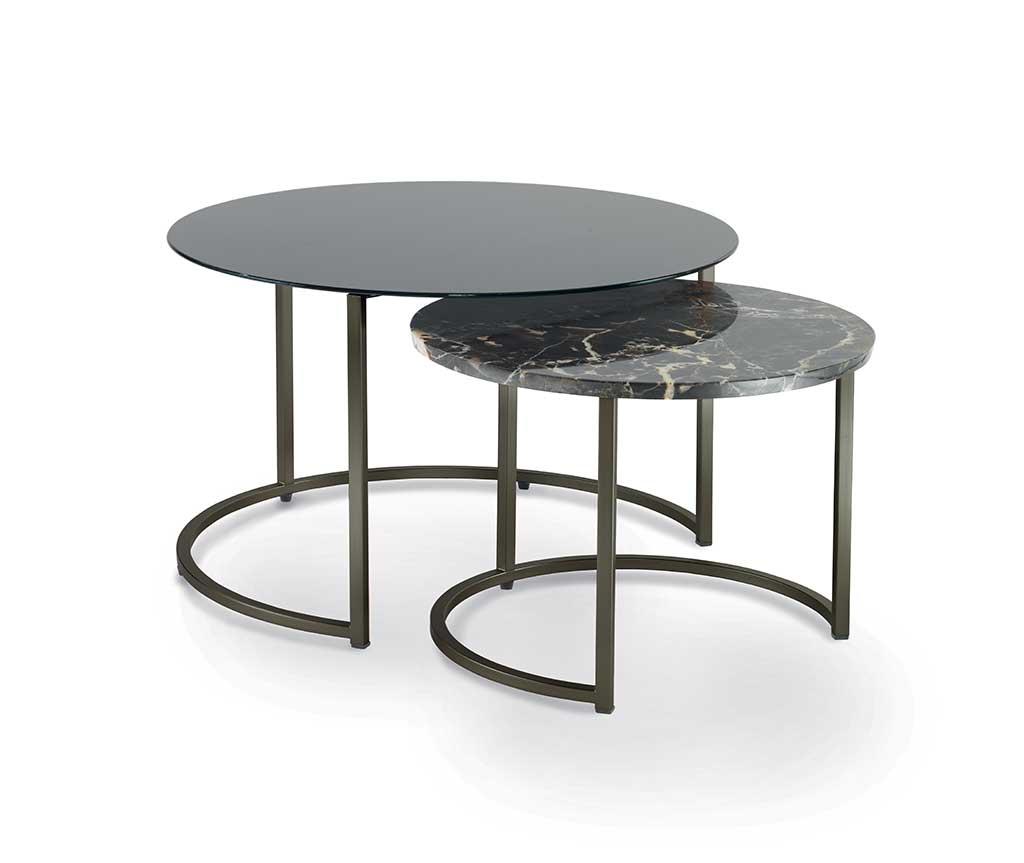 Cin-Cin-coppia-di-tavolini-con-struttura-in-metallo-piano-in-vetro-verniciato-e-marmo   Cin-Cin-pair-of-small-tables-with-metal-structure-top-in-painted-glass-and-marble
