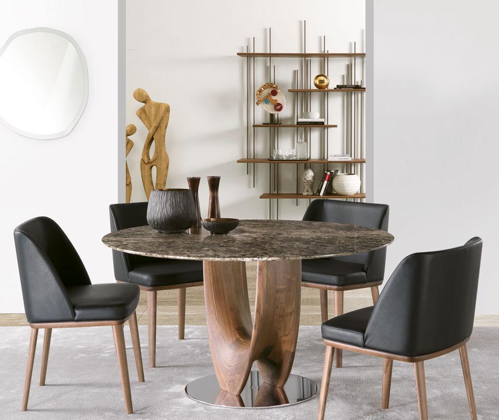 AXIS tavolo da pranzo rotondo piano marmo Emperador design Stefano bigi