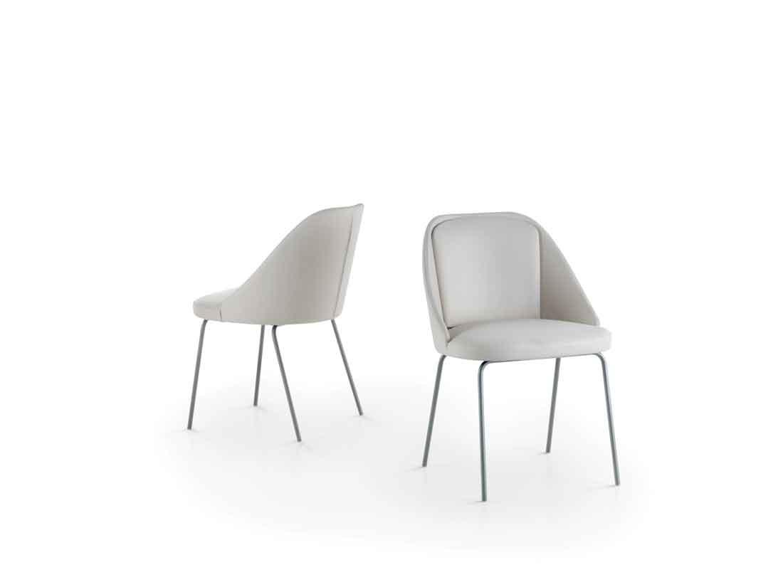 AMY sedia imbottita con struttura in metallo