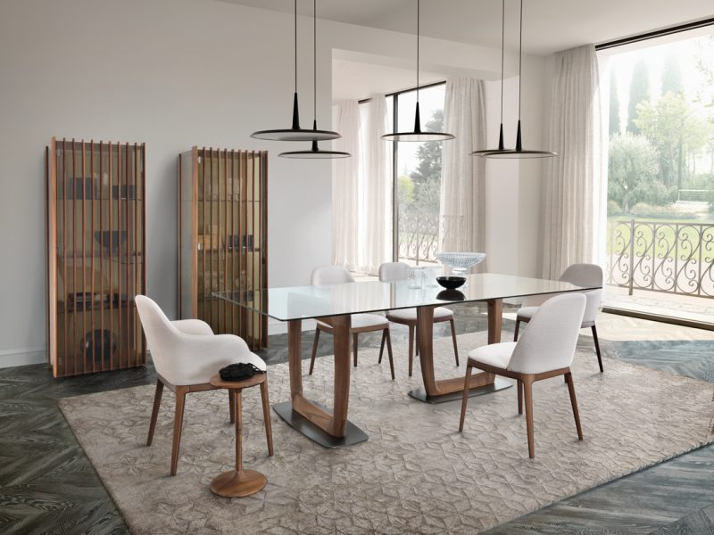 AaronTavolo da pranzo con piano legno o vetro dalle linee geometriche | Aaron Dining table with wooden or glass top with geometric lines