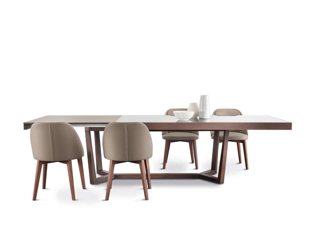 Aliante: tavolo da pranzo allungabile con piano in marmo, legno o vetro / Aliante: extensible dining table with top in marble, wood or glass