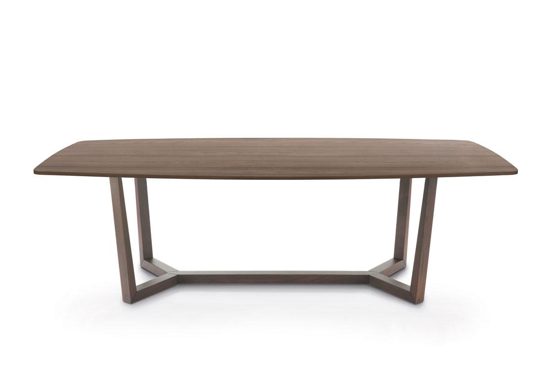 Aliante: tavolo da pranzo con piano legno a botte / Aliante: dining table with wooden barrel top