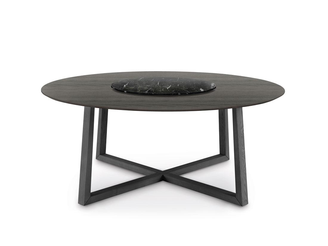 Aliante: tavolo da pranzo rotondo con piano in legno e Lazy Susan / Aliante: round dining table with top in wood and Lazy Susan