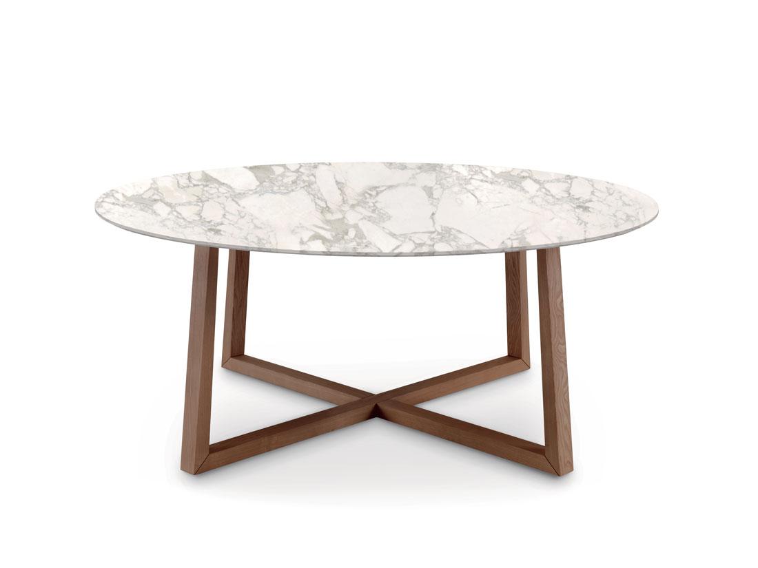 Aliante: tavolo rotondo da pranzo con piano in marmo Calacatta oro / Aliante: round dining table with top in gold Calacatta marble
