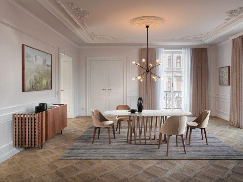 Cosmo: tavolo da pranzo con struttura in metallo verniciato / Cosmo: dining table with painted metal structure