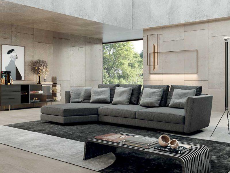 Ester: divano imbottito in ambiente moderno   Ester: upholstered sofa in a modern setting