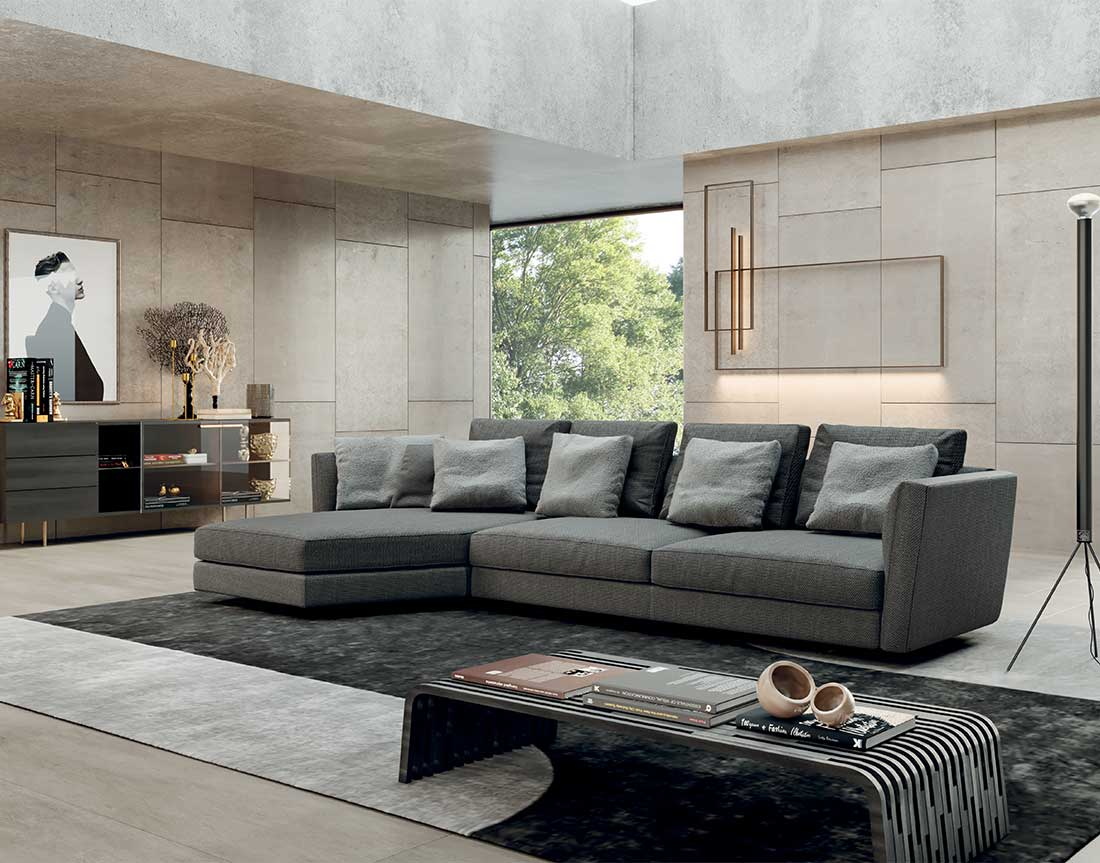 Ester: divano imbottito in ambiente moderno | Ester: upholstered sofa in a modern setting