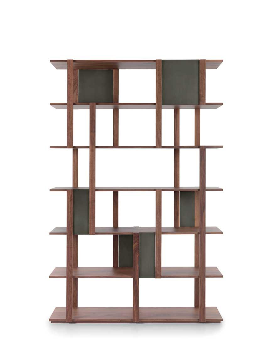 Marila libreria autoportante e modulare con struttura e ripiani in noce canaletto | Marila freestanding and modular bookcase with structure and shelves in canaletto walnut