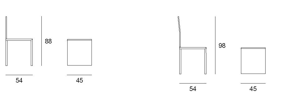 dafne disegno tecnico sedia | dafne chair technical drawing