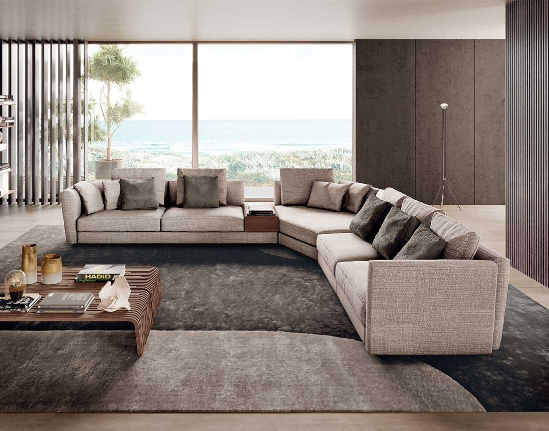 ester: divano imbottito ad angolo in ambiente moderno | ester: upholstered corner sofa in a modern setting