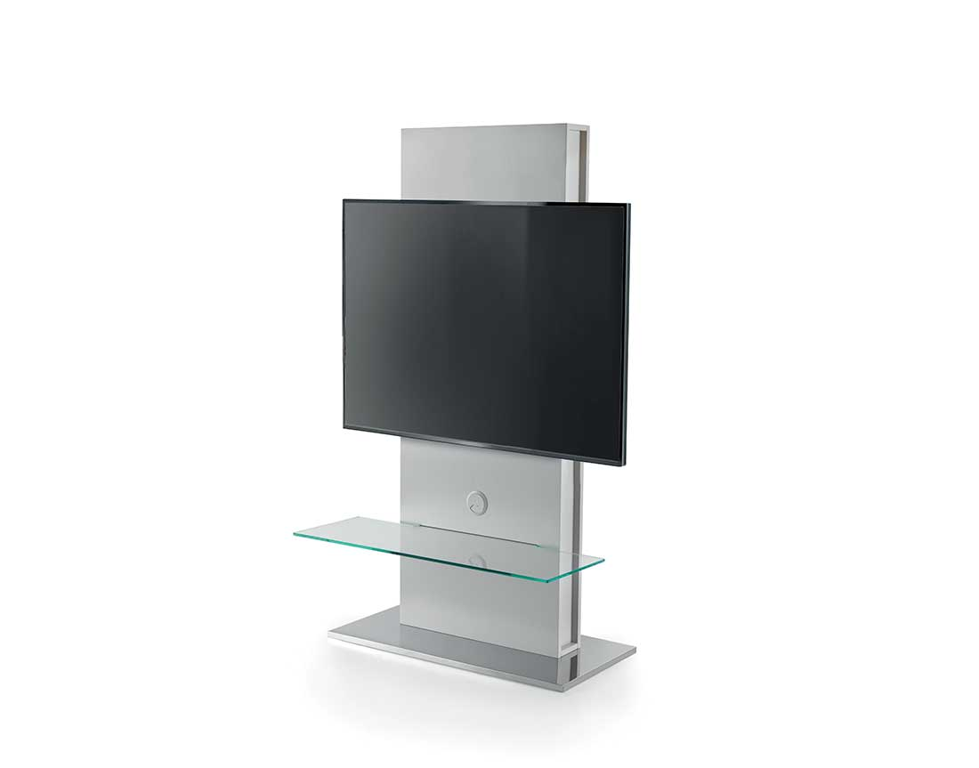 Totem-elemento-porta-tv-con-base-rotante-a-360°-o-fissa-e-pannello-frontale-placcato-frassino-in-ambiente | Totem-TV-stand-element-with-360 °-rotating-or-fixed-base-and-ash-plated-front-panel-in-room